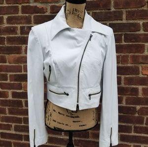 Vintage White leather moto jacket 10